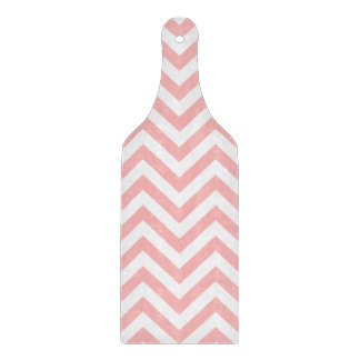 Pink and White Zigzag Stripes Chevron Pattern Cutting Board
