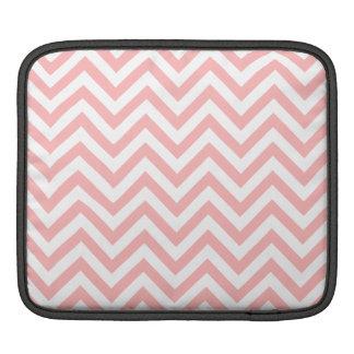 Pink and White Zigzag Stripes Chevron Pattern iPad Sleeve
