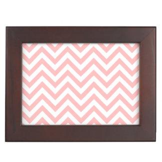 Pink and White Zigzag Stripes Chevron Pattern Keepsake Box
