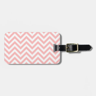 Pink and White Zigzag Stripes Chevron Pattern Luggage Tag