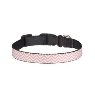 Pink and White Zigzag Stripes Chevron Pattern Pet Collar