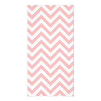 Pink and White Zigzag Stripes Chevron Pattern Photo Cards