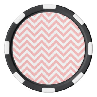 Pink and White Zigzag Stripes Chevron Pattern Poker Chips