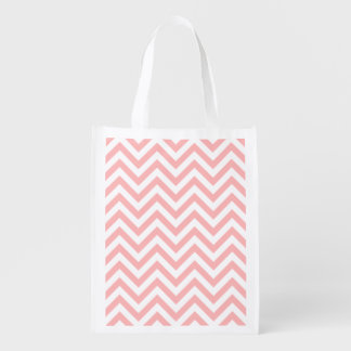 Pink and White Zigzag Stripes Chevron Pattern Reusable Grocery Bag