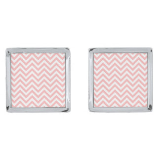Pink and White Zigzag Stripes Chevron Pattern Silver Finish Cuff Links