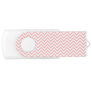 Pink and White Zigzag Stripes Chevron Pattern USB Flash Drive