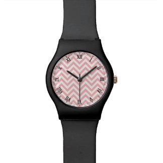 Pink and White Zigzag Stripes Chevron Pattern Watch