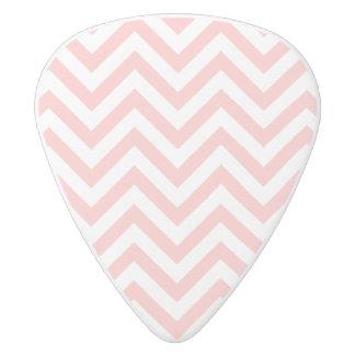 Pink and White Zigzag Stripes Chevron Pattern White Delrin Guitar Pick