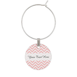 Pink and White Zigzag Stripes Chevron Pattern Wine Charm