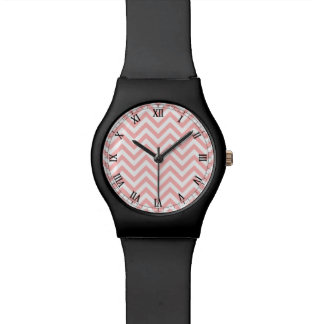 Pink and White Zigzag Stripes Chevron Pattern Wristwatches
