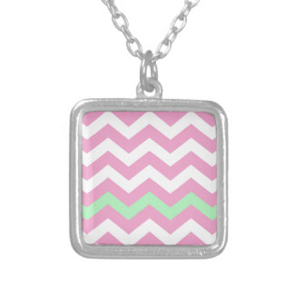 Pink and White Zigzag With Mint Green Border Square Pendant Necklace
