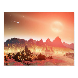 Pink and yellow alien landscape postcard