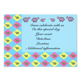 "Pink and yellow argyle turtle invitation 5"" x 7"" invitation card"