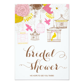 Pink and Yellow Birdcage Spring Bridal Shower II Card