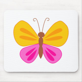 Pink and yellow butterfly mouse pad