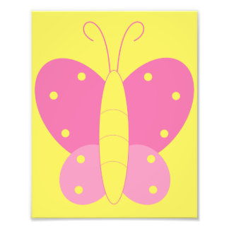 Pink and Yellow Butterfly Print Photo Art