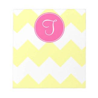 Pink and Yellow Chevron Monogram Notepad