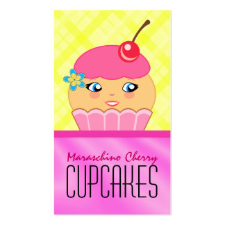 Pink and Yellow Cupcake Baker Bakery Business Card