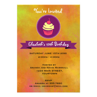 Pink and Yellow Cupcake Birthday Party 13 Cm X 18 Cm Invitation Card