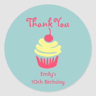 Pink and Yellow Cupcake Birthday Thank You Round Sticker