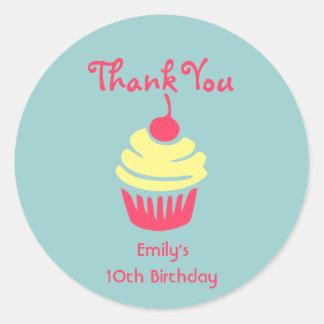 Pink and Yellow Cupcake Birthday Thank You Round Sticker