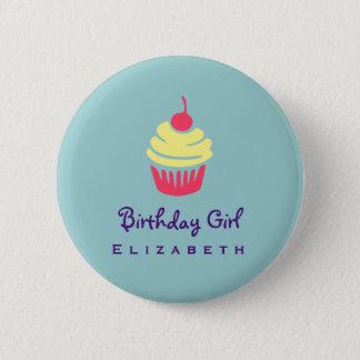 Pink and Yellow Cupcake Cherry On Top Birthday 6 Cm Round Badge