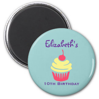 Pink and Yellow Cupcake Cherry On Top Birthday 6 Cm Round Magnet