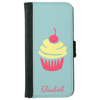 Pink and Yellow Cupcake with Cherry On Top iPhone 6 Wallet Case