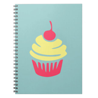 Pink and Yellow Cupcake with Cherry On Top Spiral Notebooks