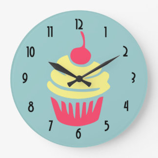 Pink and Yellow Cupcake with Cherry On Top Wall Clocks