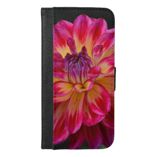 Pink and yellow dahlia flower iphone wallet case