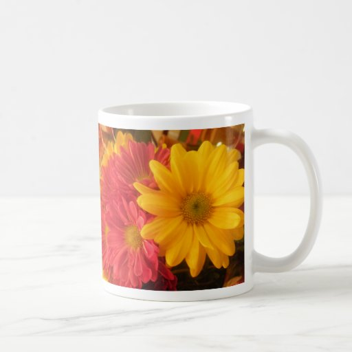 Pink and Yellow Daisies Coffee Mugs