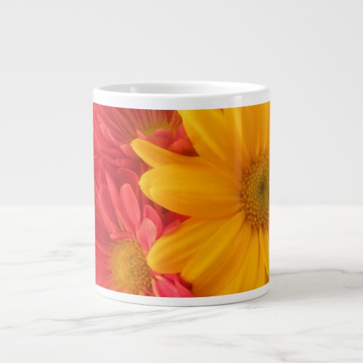 Pink and Yellow Daisies Jumbo Mug