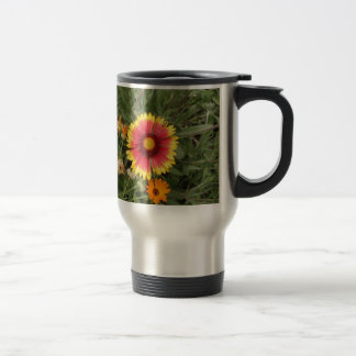 Pink And Yellow Daisy Stainless Steel Travel Mug