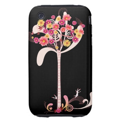 Pink and Yellow Daisy Tree iPhone 3 Tough Cover