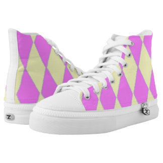 Pink And Yellow Diamond Pattern Printed Shoes