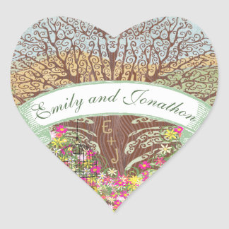 Pink and Yellow Floral Brown Oak Tree Wedding Seal Heart Sticker
