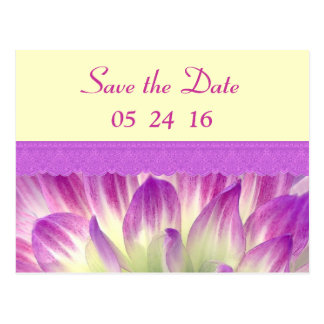 Pink and Yellow Flower Petals Save the Date V004 Postcard