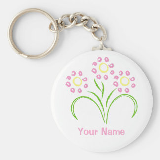 Pink and Yellow Flowers Basic Round Button Key Ring
