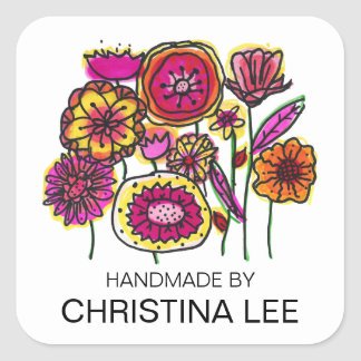 "Pink and Yellow Flowers, ""Handmade By"" Labels Square Sticker"