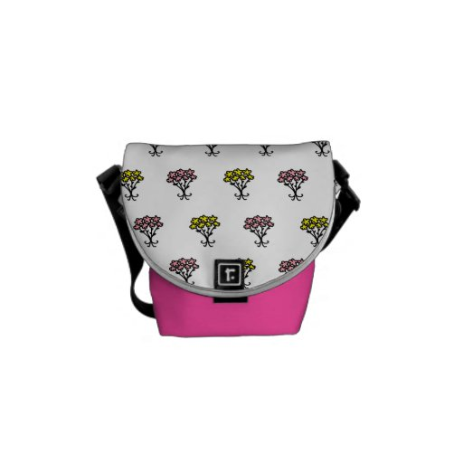Pink and Yellow Flowers Messenger Bags