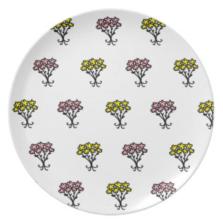 Pink and Yellow Flowers Party Plate