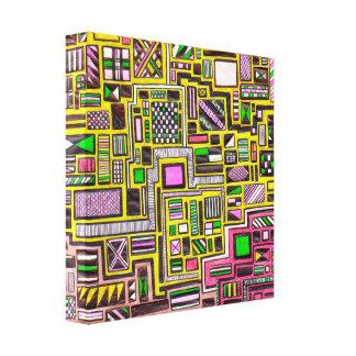 Pink and Yellow Geometric zentangle pop art punk Gallery Wrap Canvas