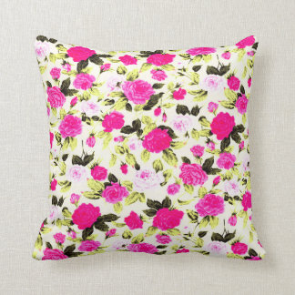 Pink and Yellow Hipster Floral Rose Pattern Cushion
