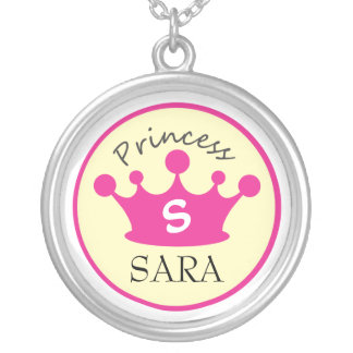 Pink and Yellow Monogram Princess Necklace