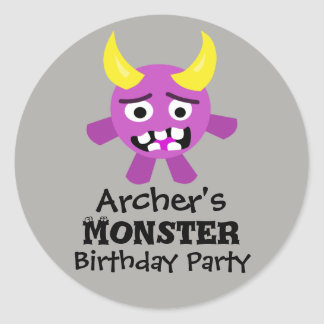 Pink and yellow Monster Birthday Party Stickers
