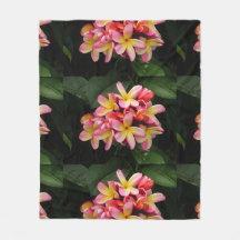 Pink and Yellow Plumeria Fleece Blanket