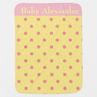 Pink and Yellow polka dots Baby Blanket