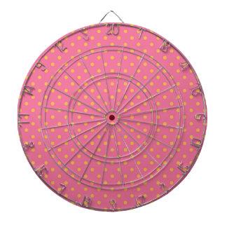 Pink and Yellow Polka Dots Dartboard With Darts