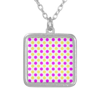 Pink and yellow polka dots silver plated necklace